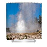 Grand Geyser In Upper Geyser Basin In Yellowstone National Park Shower Curtain
