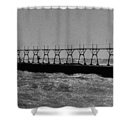 Grand Haven Light In Black And White Shower Curtain