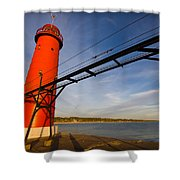 Grand Haven Lighthouse Shower Curtain by Adam Romanowicz