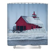 Grand Haven Lighthouse Encased In Ice Shower Curtain
