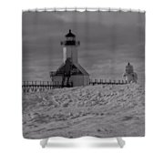 Saint Joseph Michigan Lighthouse In Winter Shower Curtain