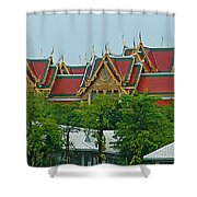 Grand Palace Of Thailand From Waterways Of Bangkok-thailand Shower Curtain