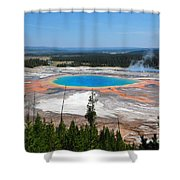 Grand Prismatic Spring From Above Shower Curtain