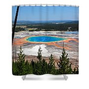 Grand Prismatic Spring From Hillside Shower Curtain