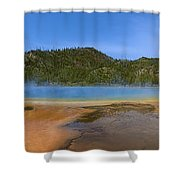 Grand Prismatic Spring In Yellowstone Panorama Shower Curtain