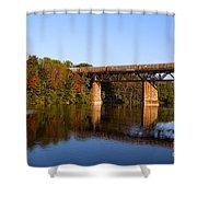 Grand River Autumn Freight Train Shower Curtain