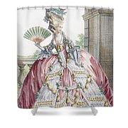 Grand Robe A La Francais, Engraved Shower Curtain by Claude Louis Desrais