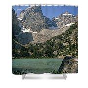 1m9387-v-grand Teton And Delta Lake - V Shower Curtain