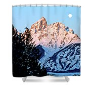Grand Teton National Park Moonset Shower Curtain