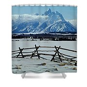 1m9306-grand Tetons From Ranch Country Shower Curtain