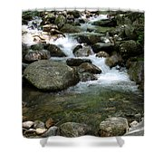 Granite Boulders In A River  Shower Curtain