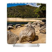 Granite Boulders In Abel Tasman Np New Zealand Shower Curtain