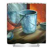 Granite Bucket Reflections Shower Curtain