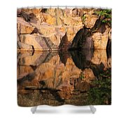 Granite Cliffs And Reflections In A Quarry Lake Shower Curtain