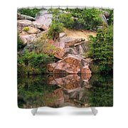 Granite Quarry And Reflections In The Missouri Ozarks Shower Curtain