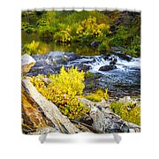 Granite Rocks Above The Cascading Feather River, Quincy California Shower Curtain