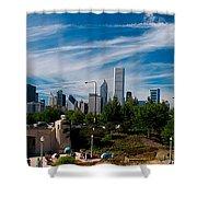 Grant Park Chicago Skyline Panoramic Shower Curtain