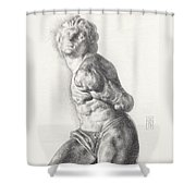 Graphite Drawing Of The Rebellious Slave Sculpture By Michelangelo Buonarotti Shower Curtain