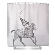 Graphite Drawing - Shooting For The Polo Goal Shower Curtain