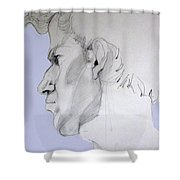 Graphite Portrait Sketch Of A Young Man In Profile Shower Curtain