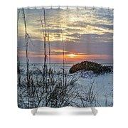 Grass And Mound Sunrise Shower Curtain