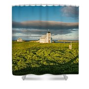 Grasslands And Flatey Church, Flatey Shower Curtain