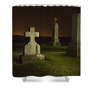 Gravestones At Night Painted With Light Shower Curtain