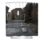Graveyard In Church Ruin - Ireland Shower Curtain