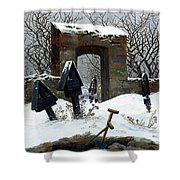 Graveyard Under Snow Shower Curtain