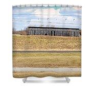 Gray Barn In A Cornfield Shower Curtain