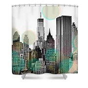 Gray City Beams Shower Curtain