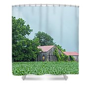 Gray Sky - Red Roofed Barn - Green Fields Shower Curtain