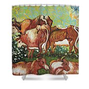 Grazing Cows Shower Curtain