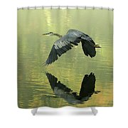Great Blue Fly-by Shower Curtain