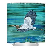 Great Blue Heron-3a Shower Curtain