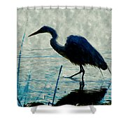 Great Blue Heron Fishing In The Low Lake Waters Shower Curtain