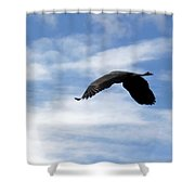 Great Blue Heron Flying Past The Clouds Above Trojan Pond 2 Shower Curtain