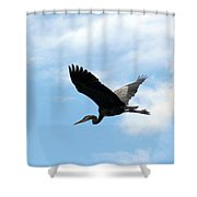 Great Blue Heron Flying Past The Clouds Above Trojan Pond Shower Curtain