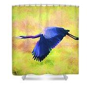 Great Blue Heron In Flight Art Shower Curtain