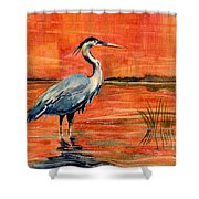 Great Blue Heron In Marsh Shower Curtain