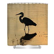 Great Blue Heron Reflected Shower Curtain