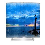 Great Blue Heron Sunrise Shower Curtain