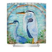 Great Blue Herons Seek Freedom Shower Curtain