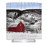 Great Canadian Red Barn In Winter Shower Curtain