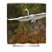 Great Egret Pixelated Shower Curtain