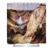 Great Falls Of Yellowstone Shower Curtain by Thomas Moran