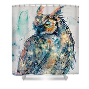 Great Horned Owl In Gold Shower Curtain