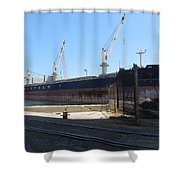 Great Lakes Ship Polsteam 4 Shower Curtain