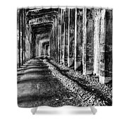 Great Northern Railroad Snow Shed - Black And White Shower Curtain