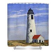 Great Point Lighthouse Nantucket Massachusetts Shower Curtain